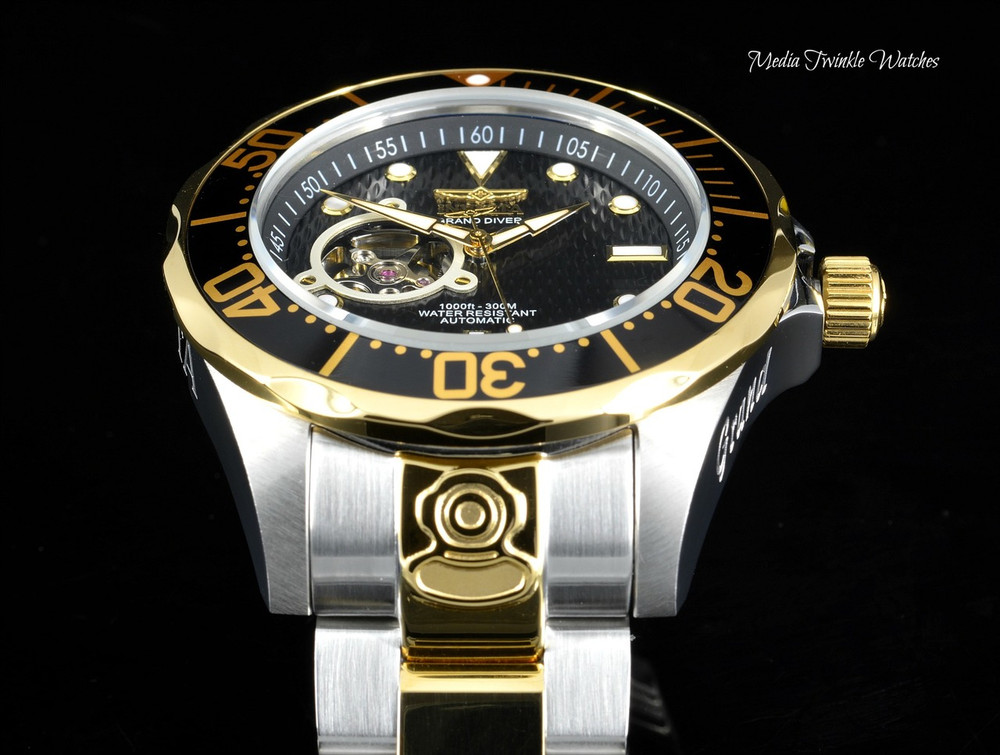 "Invicta 13705 Grand Diver Automatic Black Dial Two Tone ""Open Heart"" Stainless Steel Bracelet Watch 