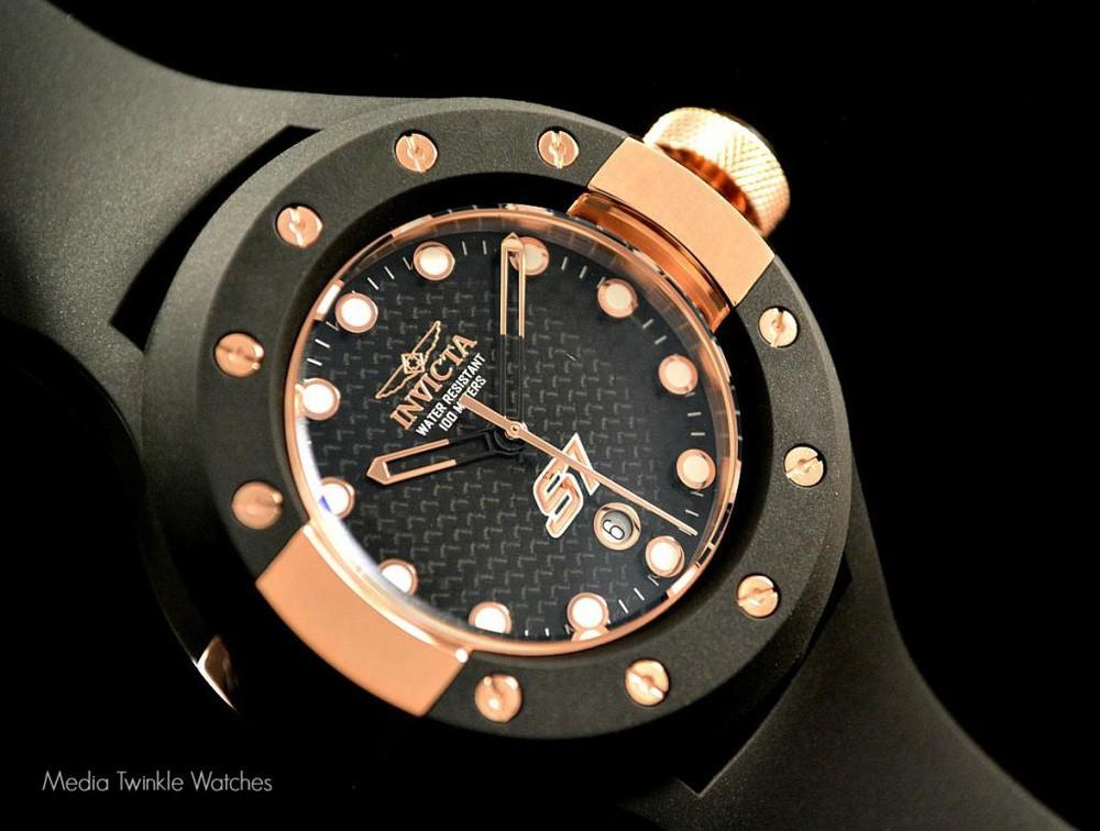 Invicta 1944 S1 Carbon Fiber 52mm Rose Gold Tone Black Polyurethane Strap Watch | Free Shipping