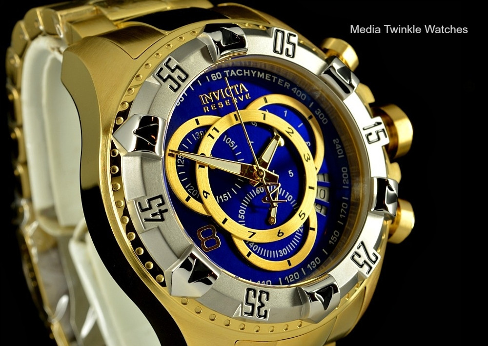 Invicta 80622 Reserve Excursion Swiss Quartz Chronograph Blue Dial Silver Bezel Gold Plated Stainless Steel Watch | Free Shipping