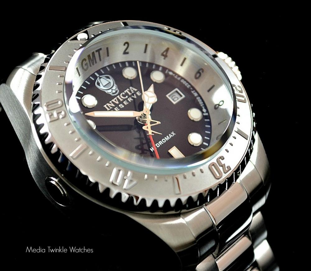 Invicta 16957 Reserve 52mm Hydromax Black Dial Silver Bezel Quartz GMT Bracelet Watch | Free Shipping