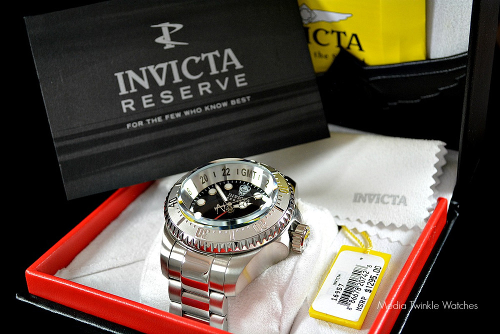 Invicta 16957 Reserve 52mm Hydromax Black Dial Silver Bezel Quartz GMT Bracelet Watch | Free Shipping