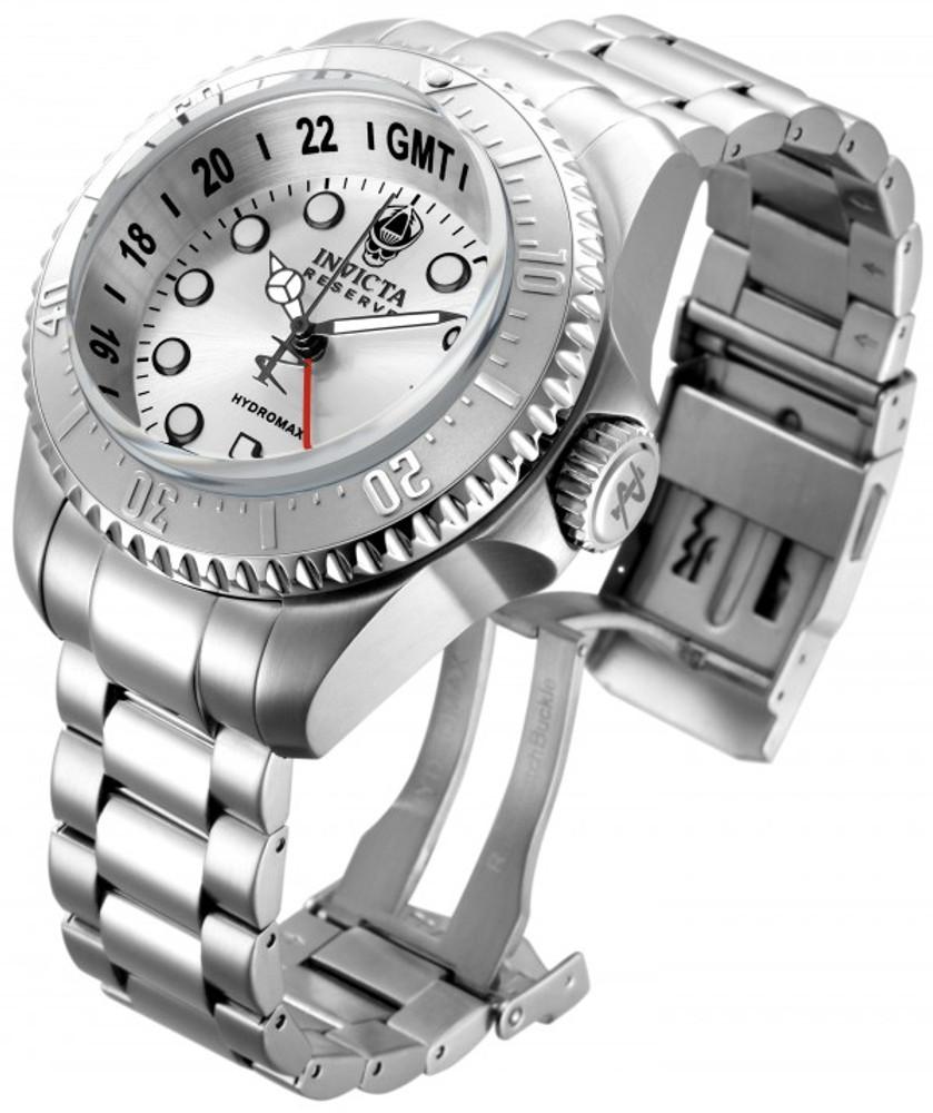Invicta 16958 Reserve 52mm Hydromax Silver Dial Silver Bezel Quartz GMT Bracelet Watch | Free Shipping