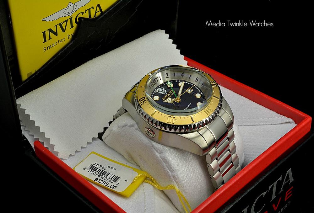 Invicta 16960 Reserve 52mm Hydromax Black Dial Gold Tone Bezel Quartz GMT Bracelet Watch   Free Shipping