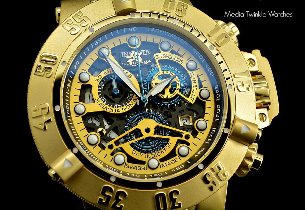 Invicta 18526 Men's Subaqua Noma III Swiss Quartz Chronograph 18k Gold Tone Black Polyurethane Strap Watch | Free Shipping