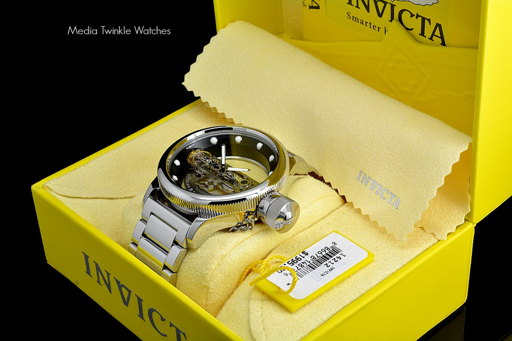 Invicta 14212S Russian Diver Bridge Automatic Silver Tone Solid Stainless Steel Bracelet + Black Leather Strap Watch   Free Shipping