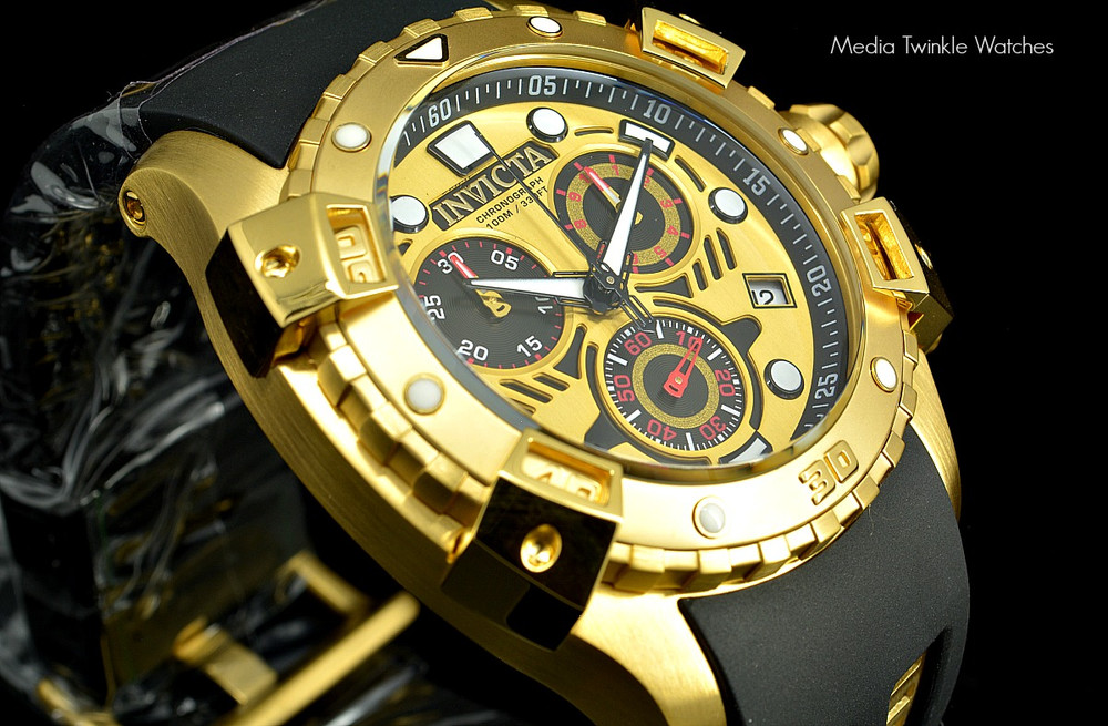 Invicta 18859 Sea Thunder Specialty Gold Tone Dial Swiss Quartz Chronograph Watch   Free Shipping