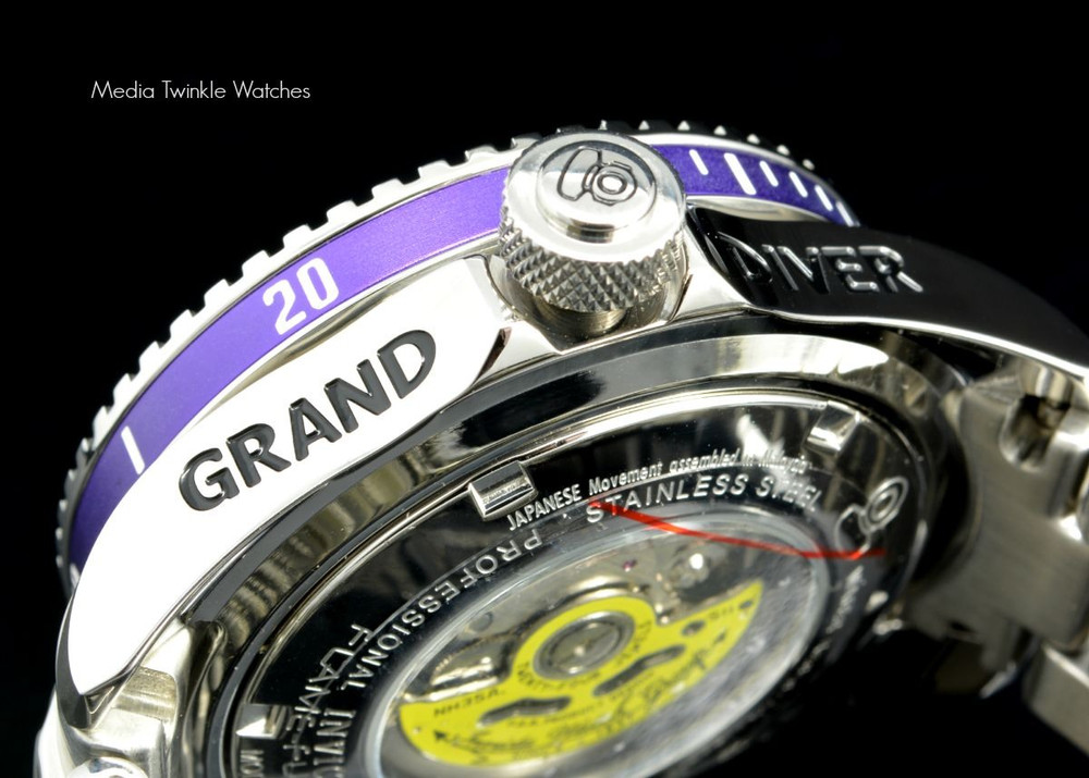 Invicta 19801 Grand Diver 2 Gen II 47mm Automatic Charcoal Dial Purple Bezel Stainless Steel Bracelet Watch | Free Shipping