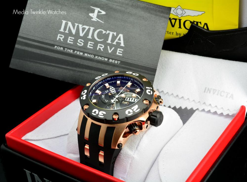 Invicta 0918 Reserve Scuba Specialty Subaqua Swiss Quartz Chronograph Black Dial Rose Gold Tone Polyurethane Strap Watch | Free Shipping