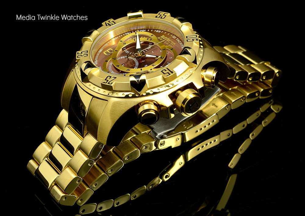 Invicta 14474 Reserve Excursion Swiss Quartz Chronograph Brown Dial All Gold Plated Stainless Steel | Free Shipping
