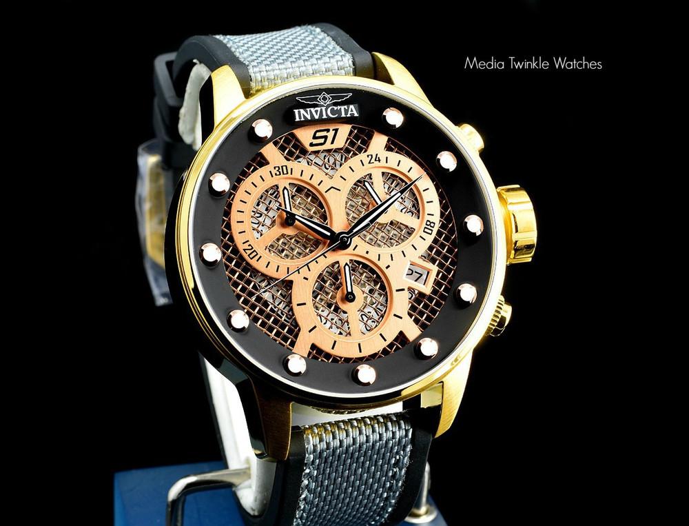 Invicta 19627 S1 Rally 48mm Quartz Chronograph Black & Rose Gold Tone Twisted Metal Poly Strap