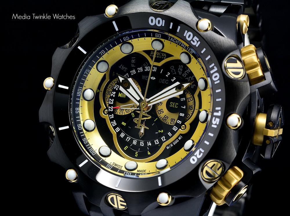 Invicta 20420 Reserve 52MM VENOM Hybrid Black & Gold Tone 5040F Swiss Quartz Chronograph Bracelet Watch   Free Shipping