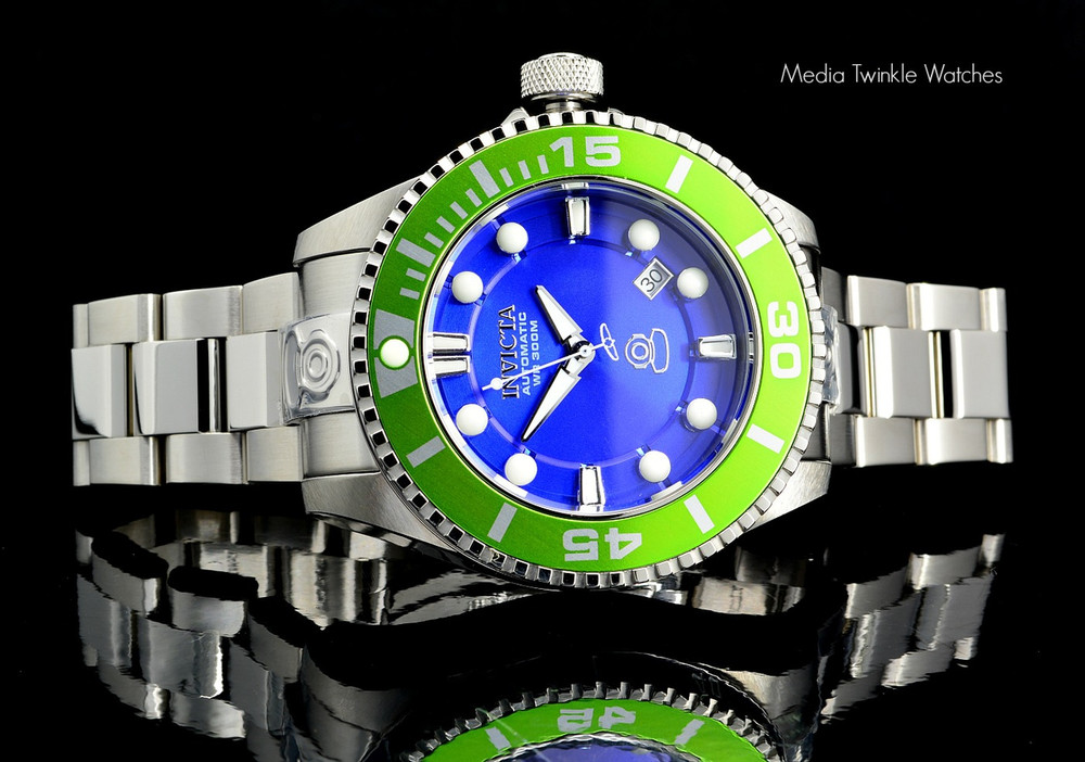 Invicta 20173 Grand Diver 2 Gen II 47mm Automatic Blue Dial Green Bezel Stainless Steel Bracelet Watch | Free Shipping