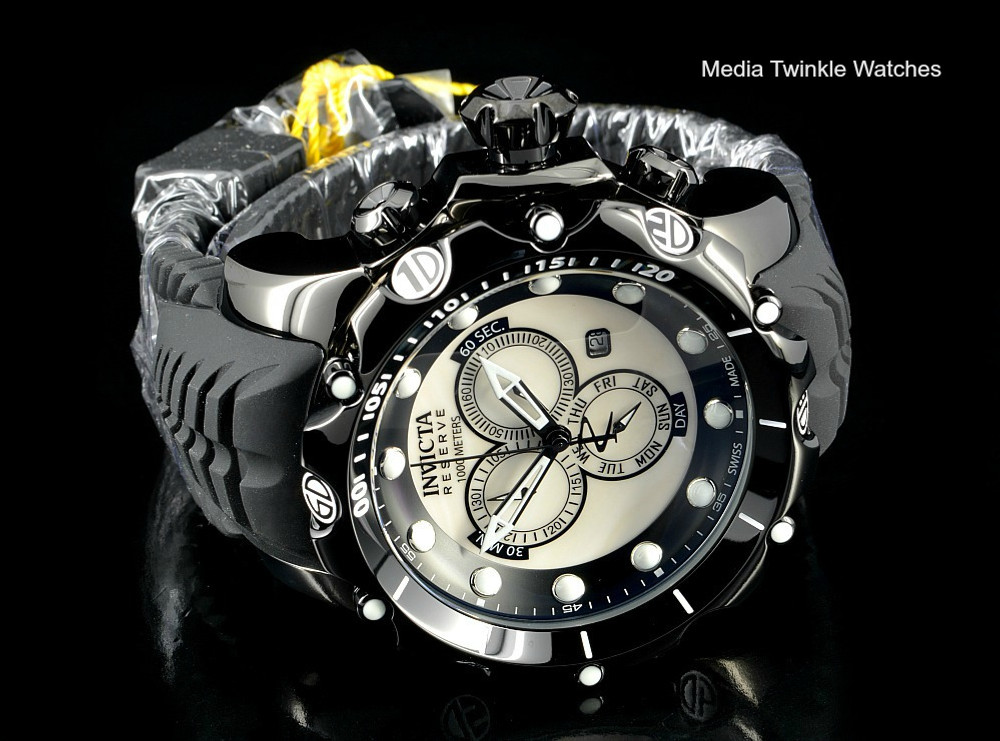 Invicta 20398 Sea Dragon Gen. II Swiss Made Chronograph White MOP Dial Silver Case Black Silicon Strap Watch | Free Shipping