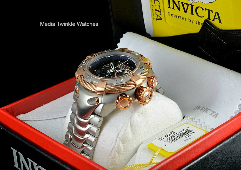 Invicta 21356 Reserve 56mm Thunderbolt Swiss Made Quartz Chronograph Rose Gold Tone & Silver Bracelet Watch