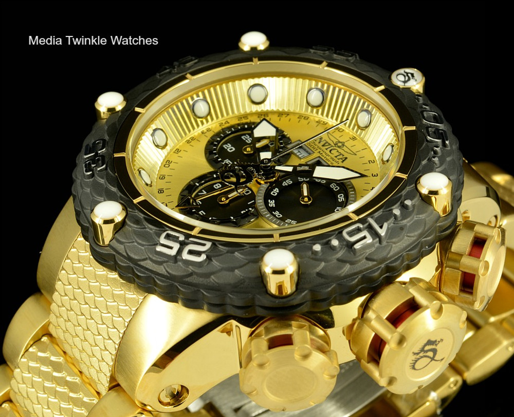 Invicta 21676 Subaqua Noma VI Swiss Quartz Chronograph Gold Tone & Black Bezel Bracelet Watch