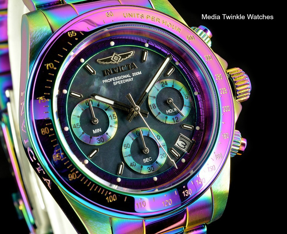 Invicta 23941 Speedway 40mm Black MOP Dial Iridescent finish Stainless Steel Watch