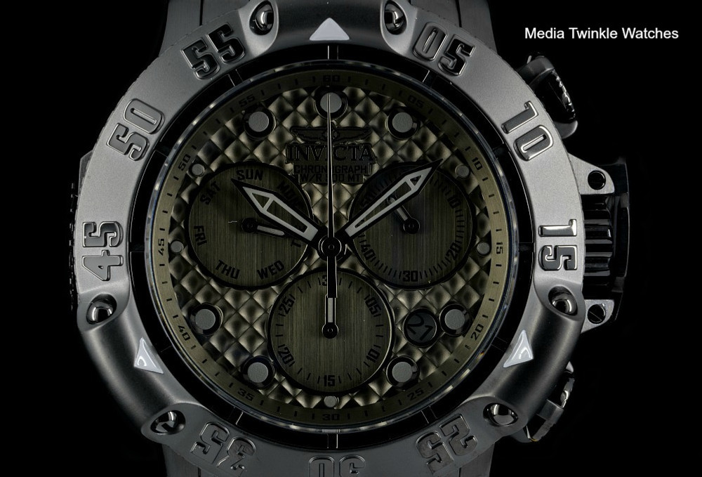 Invicta 50mm Subaqua 23808 Poseidon Quartz Chronograph Gunmetal Dial Black Bracelet Watch