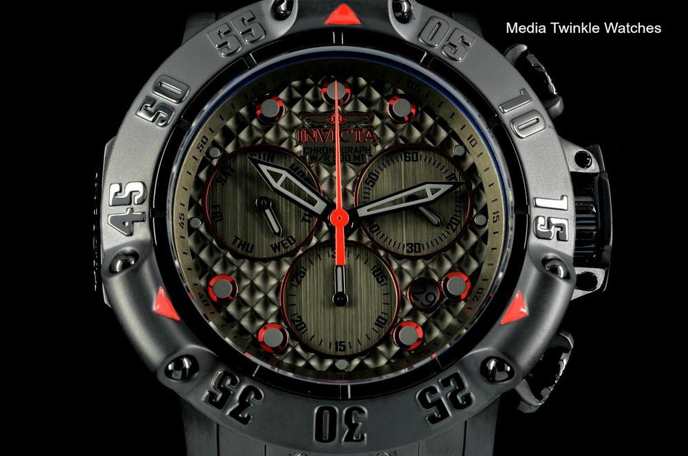 Invicta 50mm Subaqua 23809 Poseidon Quartz Chronograph Gunmetal Dial Red Accented Black Bracelet Watch