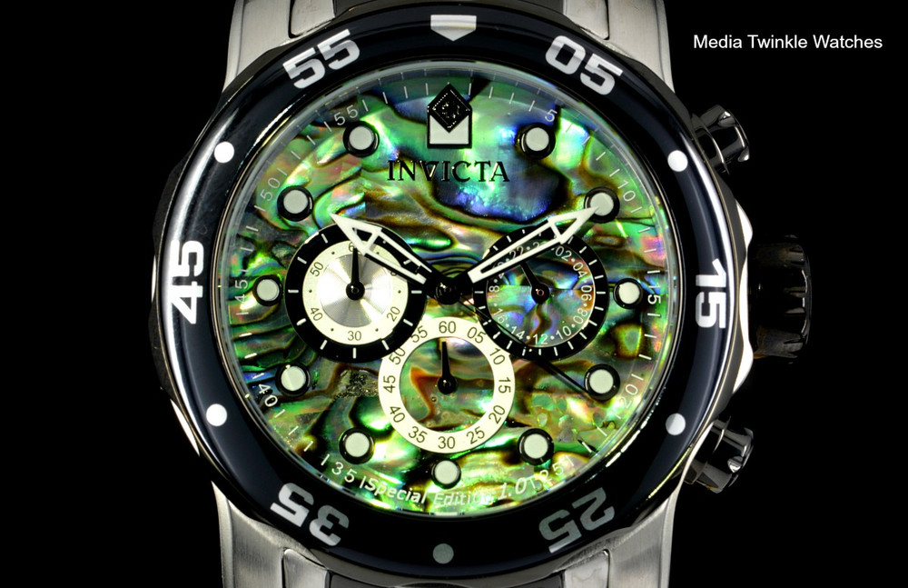 Invicta 48mm Pro Diver Abalone Dial Quartz Chronograph Two Tone Bracelet Watch 24837