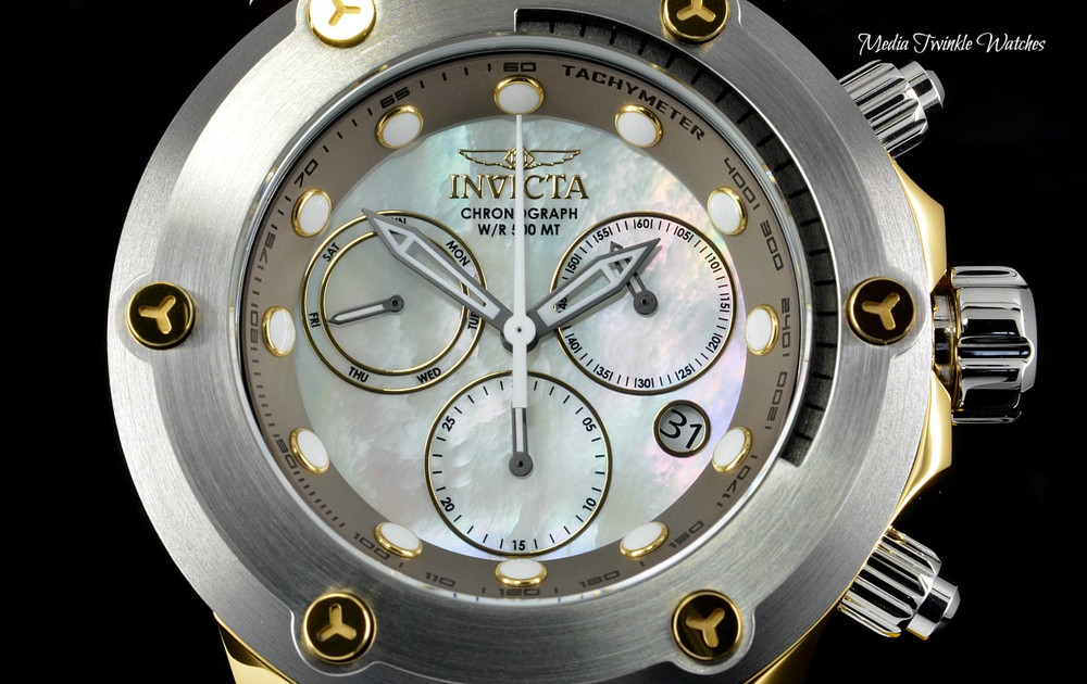 "Invicta 52mm Specialty Subaqua ""Elevated Bezel"" Gold Tone Gray Silicone Strap Watch 23931"