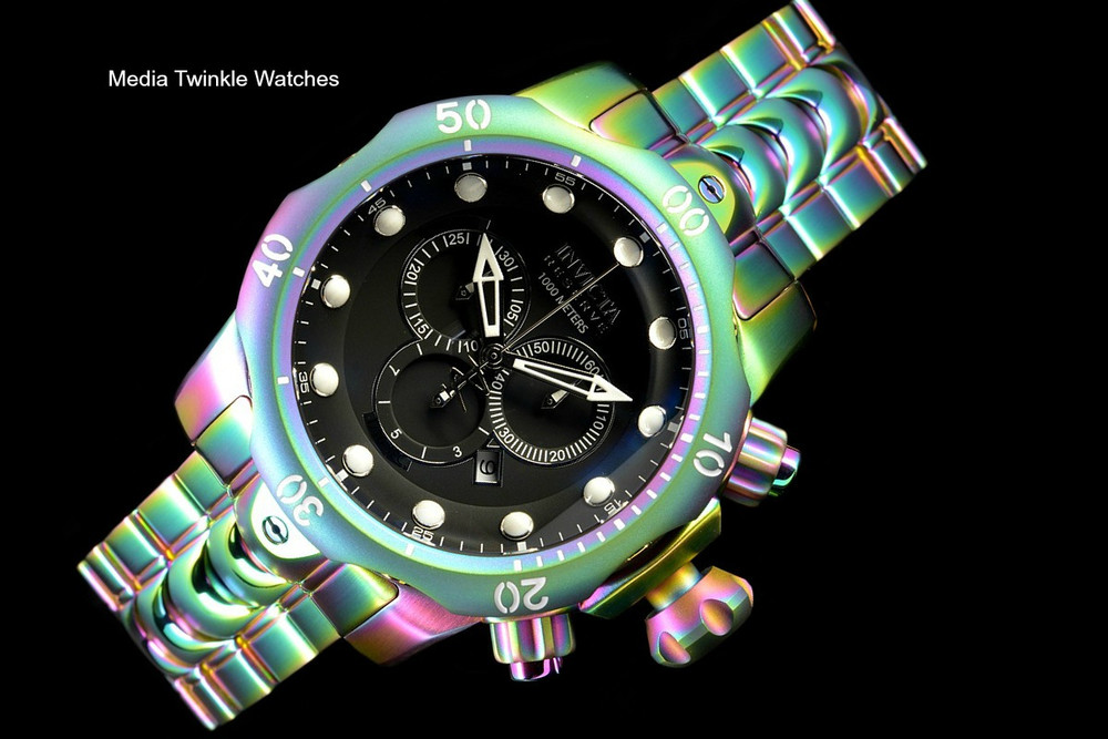 Invicta 52mm Reserve Venom Iridescent Black Dial Quartz Chronograph Bracelet Watch 19764