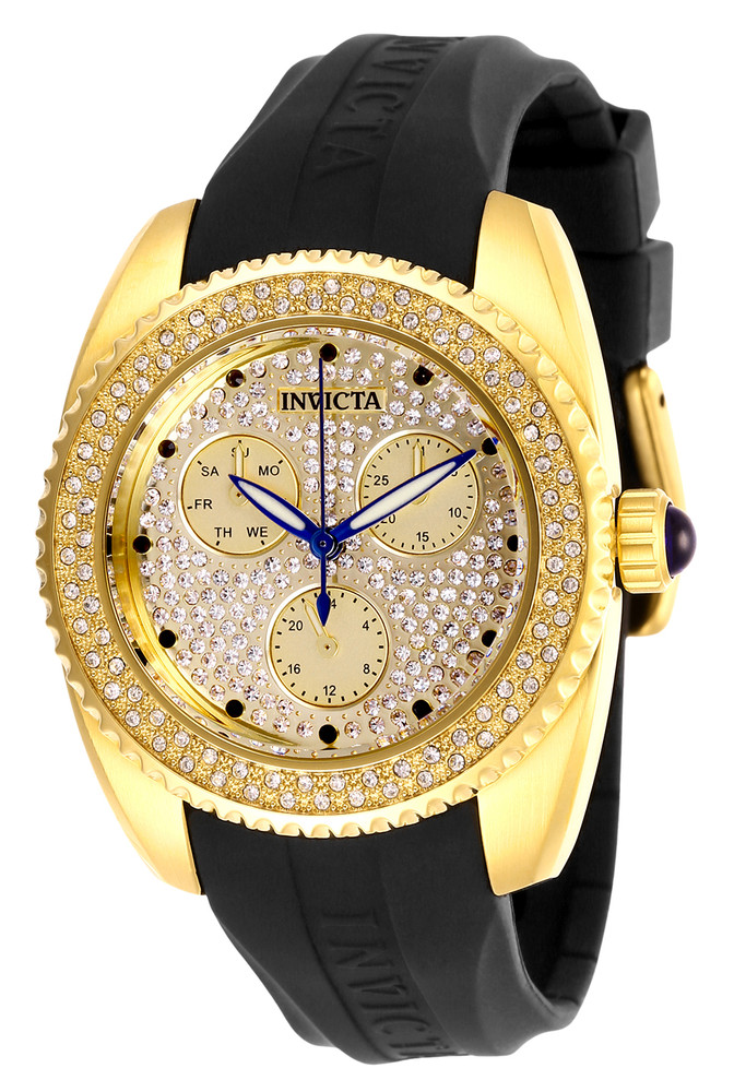 Invicta 28485 Women's Angel Quartz Crystal Accented Mother-of-Pearl Subdial Silicone Strap Watch w/1 Slot Dive Case