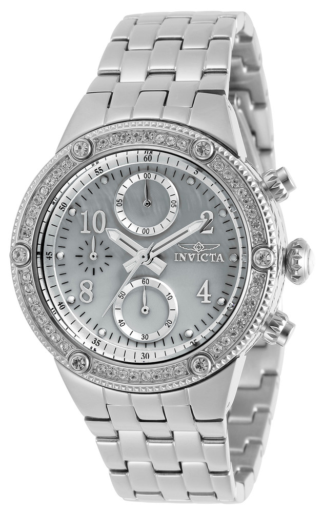 Invicta Women's Angel Quartz Chronograph Crystal Accented Stainless Silver Steel Bracelet Watch