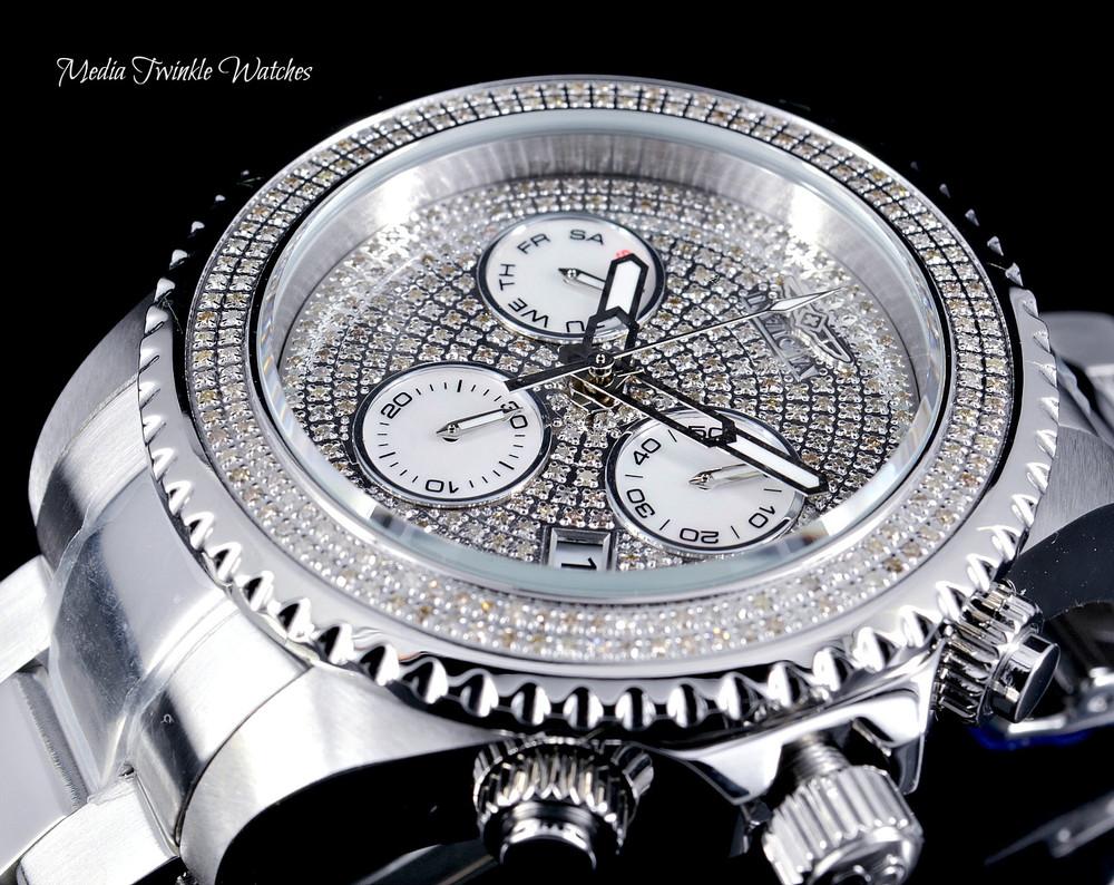 Invicta 47mm Grand Diver Quartz Chronograph 1.94ctw Diamond Dial Silver Bracelet Watch