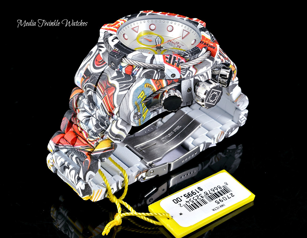 Invicta 52mm Bolt Zeus Quartz Chronograph Silver Dial GRAFFITI HYDROPLATED Bracelet Watch