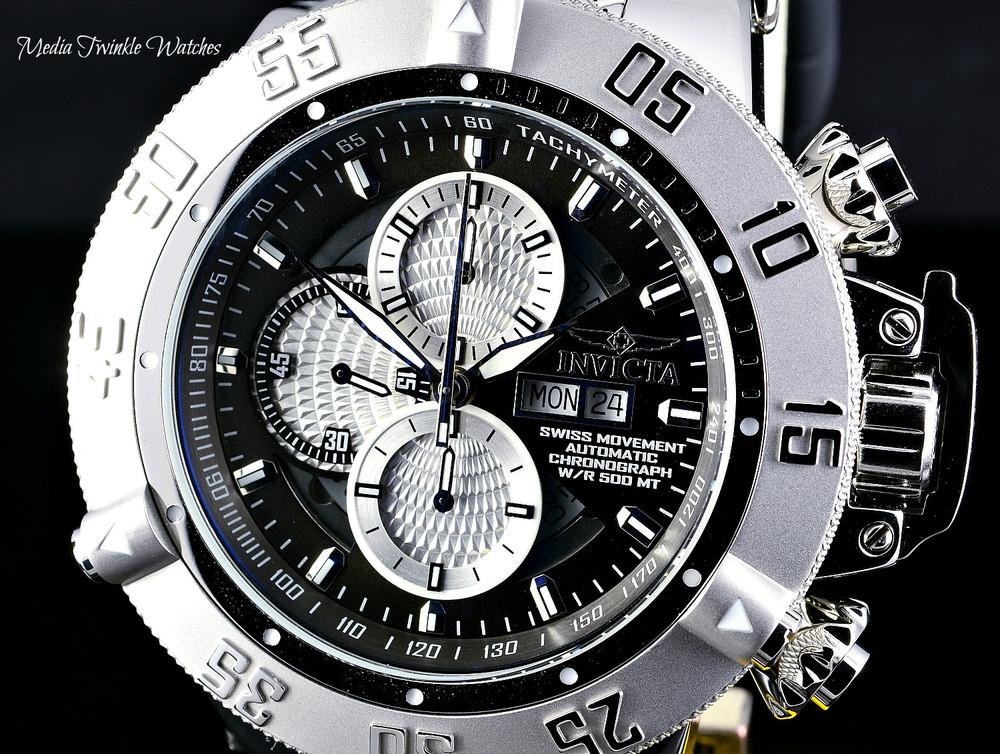 Invicta Men's 56mm Grand Subaqua Noma III Swiss Automatic Chronograph Silver Dial Watch