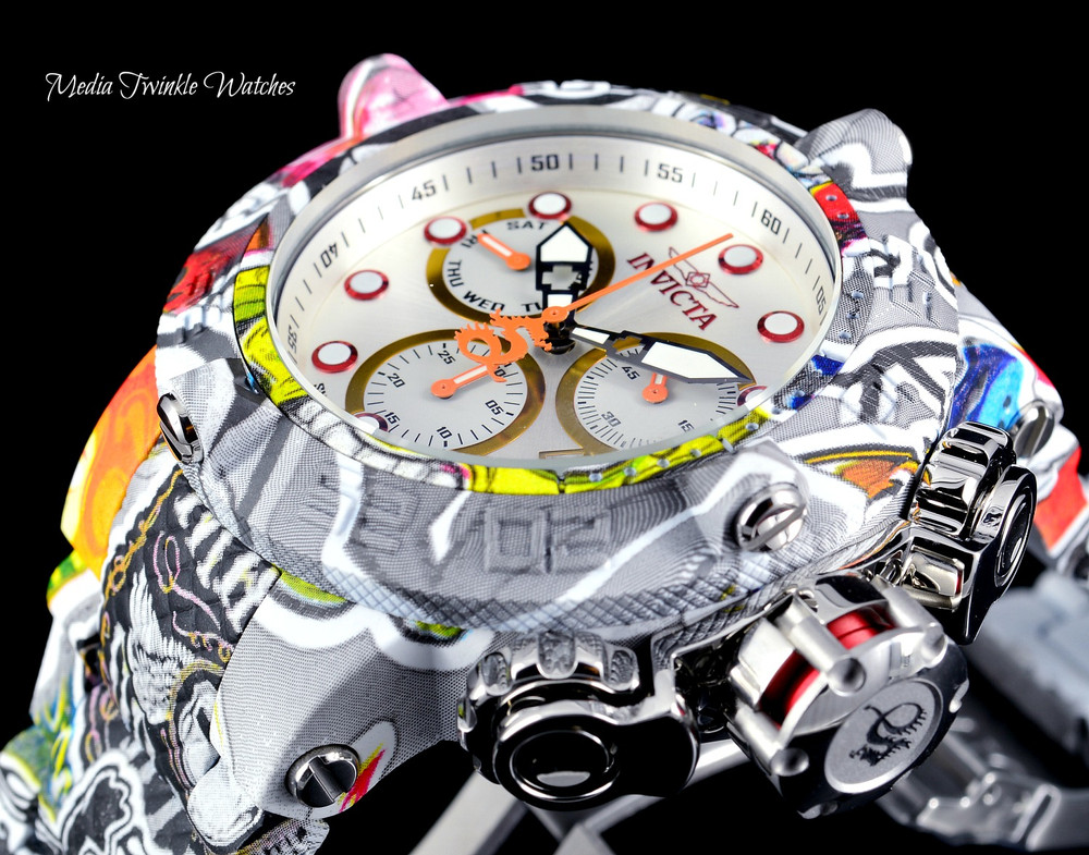 Invicta 50mm The Subaqua Swiss Quartz Chronograph Silver Dial GRAFFITI HYDROPLATED Watch