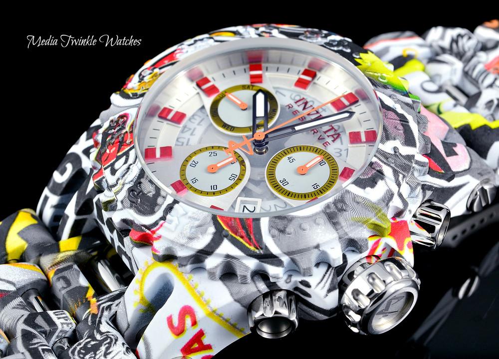 Invicta 50mm Reserve Chaos GRAFFITI Hydroplated Swiss Quartz Chronograph Watch
