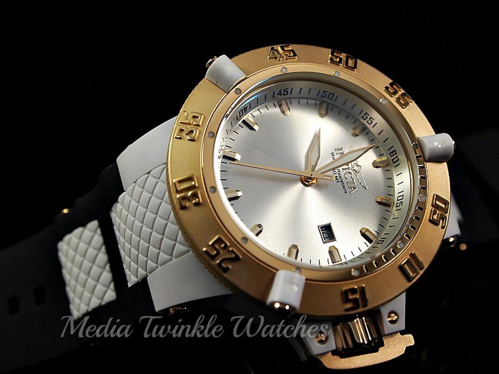 Invicta 10114 Mens Subaqua Noma III Swiss Quartz Silver Dial Polyurethane Strap Watch   Free Shipping