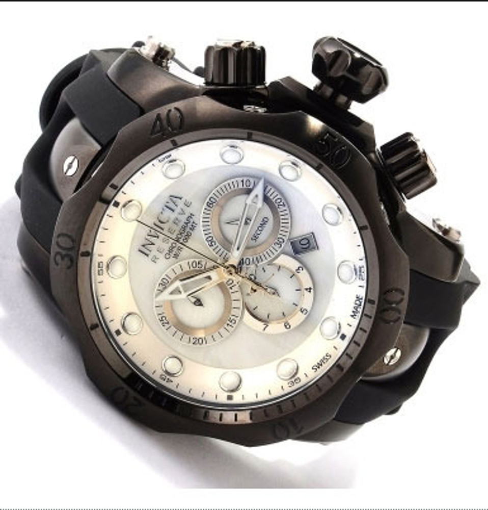 Invicta 1219 Reserve Venom Swiss Made Chronograph Polyurethane Strap Watch in 3 SLOT Dive Case W/ Extra Bands | Free Shipping