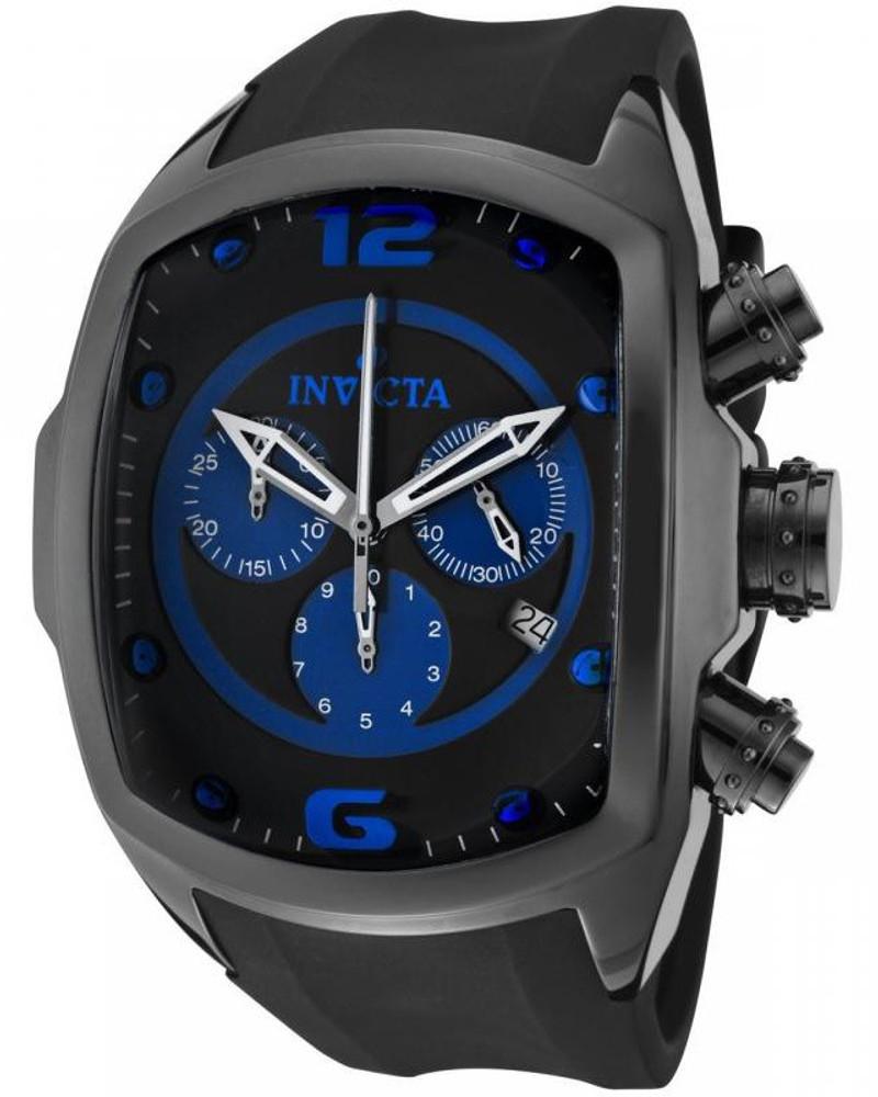 Invicta 0314 Men's Lupah Revolution Ceramic Swiss Chronograph Blue Dial Black Polyurethane Strap Watch | Free Shipping