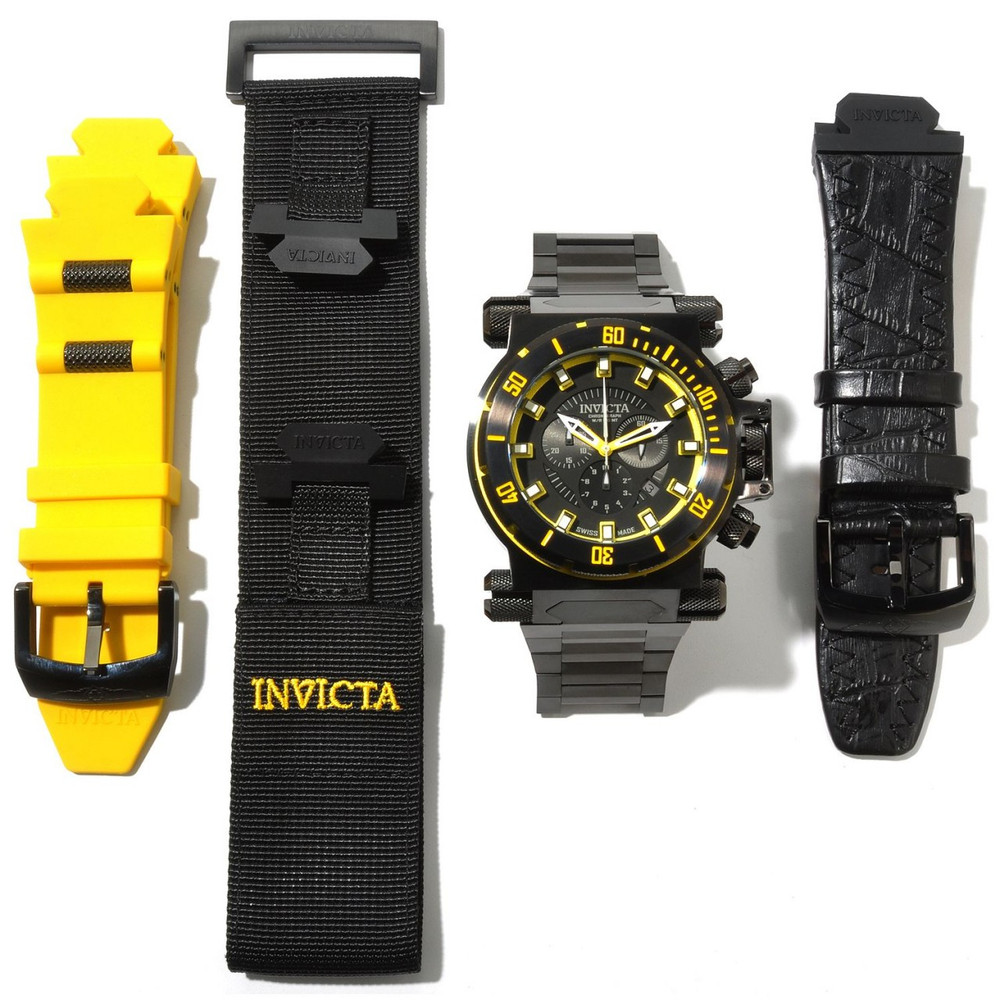 Invicta 10035 Men's Coalition Forces Black Label Swiss Made Quartz Chronograph Bracelet Watch   Free Shipping