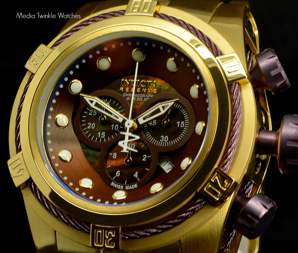 New Invicta 12740 Reserve Bolt Zeus Gold Tone Brown Dial Swiss Made Chronograph Stainless Steel Watch | Free Shipping