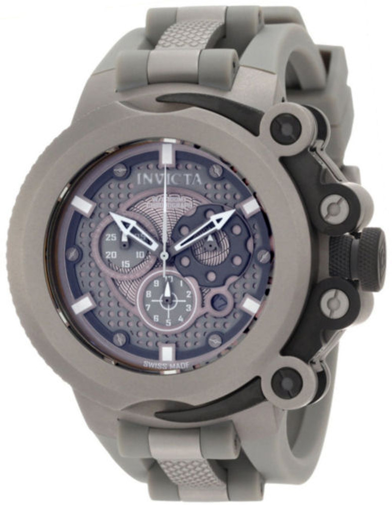 Invicta 0958 Coalition Forces Grey Dial Swiss Made Chronograph Grey Polyurethane Strap Watch | Free Shipping