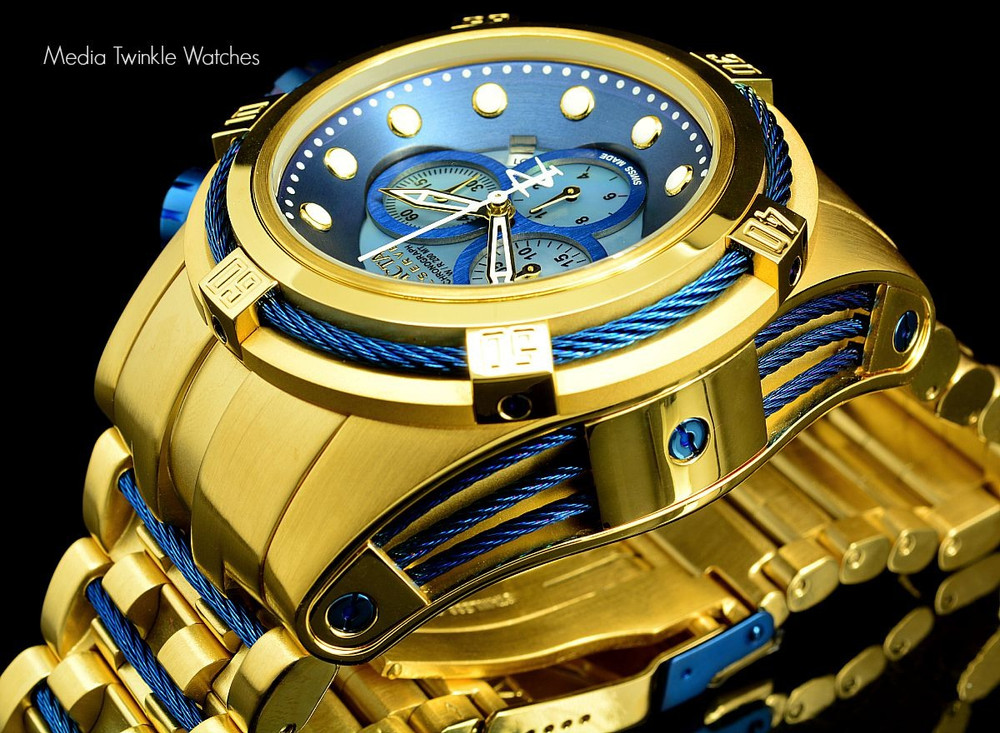 Invicta 12742 Reserve Bolt Zeus Gold Tone Blue Dial Swiss Made Chronograph Stainless Steel Watch | Free Shipping