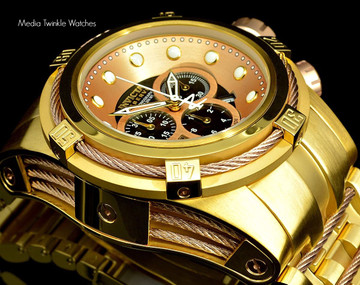 Invicta 12739 Reserve Bolt Zeus Gold Tone Brown Dial Swiss Made Chronograph Stainless Steel Watch | Free Shipping