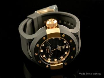 Invicta 1943 S1 Carbon Fiber 52mm Gold Tone Black Polyurethane Strap Watch | Free Shipping