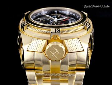 Invicta 16956 Reserve 53mm Bolt Zeus Tria Gold Tone Swiss Quartz Chronograph GMT Stainless Steel Bracelet Watch | Free Shipping