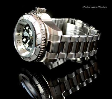 Invicta 16957 Reserve 52mm Hydromax Black Dial Silver Bezel Quartz GMT Bracelet Watch   Free Shipping