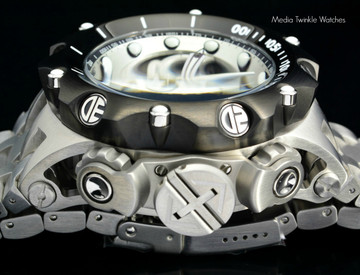 Invicta 16809 Reserve 52MM VENOM Hybrid Silver Tone Black Bezel 5040F Swiss Quartz Chronograph Bracelet Watch   Free Shipping