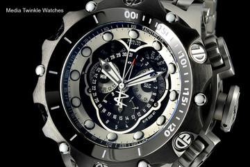 Invicta 16809 Reserve VENOM Hybrid Silver Tone Black Bezel 5040F Swiss Quartz Chronograph Bracelet Watch   Free Shipping