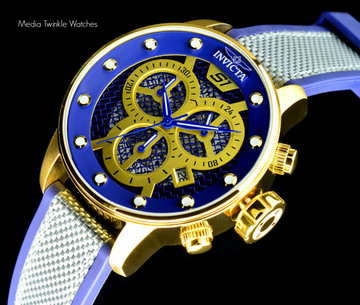 Invicta 19626 S1 Rally 48mm Quartz Chronograph Blue & Gold Tone Twisted Metal Poly Strap | Free Shipping