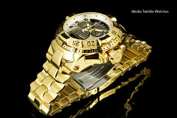 """Invicta 17470 Reserve Mens Excursion Gold Tone Black Dial Swiss Quartz 8040.N """"Twisted Metal"""" Silver Bracelet Watch   Free Shipping"""