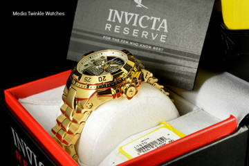 "Invicta 17470 Reserve Mens Excursion Gold Tone Black Dial Swiss Quartz 8040.N ""Twisted Metal"" Silver Bracelet Watch 