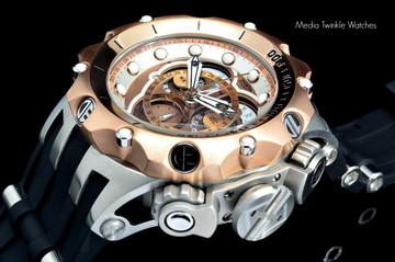 Invicta 20426 Reserve 52MM VENOM Hybrid Brown Dial Rose Gold Bezel 5040F Swiss Quartz POLYURETHANE Watch   Free Shipping