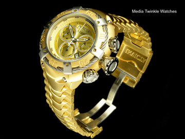 Invicta 21345 Reserve 52mm Thunderbolt Swiss Quartz Chronograph Gold Tone Dial Silver Bezel Bracelet Watch